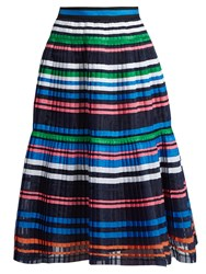 Muveil Ribbon Striped Pleated Organza Skirt Navy Multi