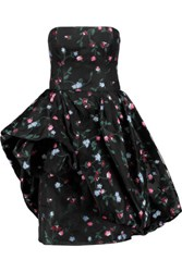 Oscar De La Renta Strapless Floral Embroidered Mesh Dress Black