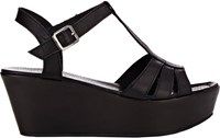 Barneys New York T Strap Platform Wedge Sandals Black