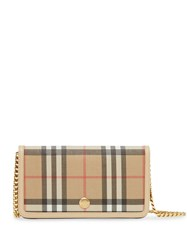 Burberry Vintage Check E Canvas Phone Wallet With Strap Neutrals