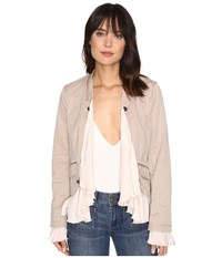 Free People Romantic Ruffles Twill Jacket Ivory Women's Coat White