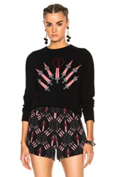 Valentino Heart Embroidered Sweater In Black