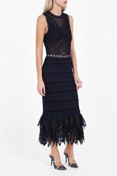Jonathan Simkhai Women S Embroidered Organza Trumpet Dress Boutique1 Navy