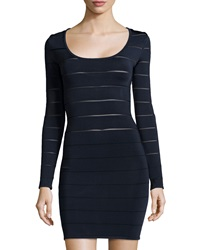 Neiman Marcus Sheer Stripe Long Sleeve Dress Midnight