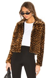 By The Way Casey Leopard Faux Fur Coat Brown
