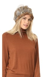 Adrienne Landau Knit Fur Hat With Fur Pom Brown Goma