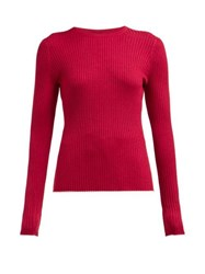 Gabriela Hearst Browning Ribbed Cashmere Blend Sweater Burgundy Multi
