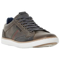 Dune Tailored1 Side Stitch Leather Trainers Grey