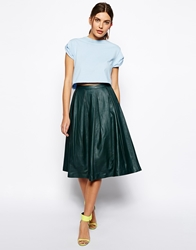 Asos Premium Full Midi Skirt In Leather Deepgreen