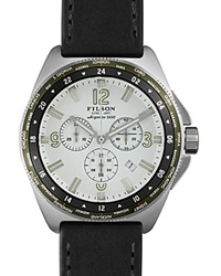 Filson The Journeyman Chronograph Leather Strap Watch 44Mm Black