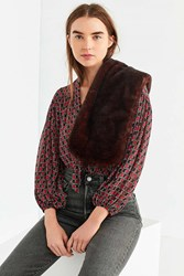 Urban Outfitters Faux Fur Short Stole Brown