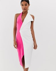 Lavish Alice Over Sized Collar Halterneck Midi Dress In Pink And White Multi