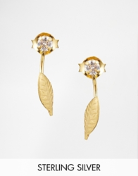 Asos Gold Plated Sterling Silver Leaf Swing Earrings