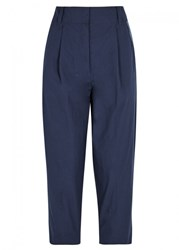 Dkny Navy Cropped Cotton Trousers Indigo