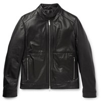 Hugo Boss Nortilo Slim Fit Leather Jacket Black