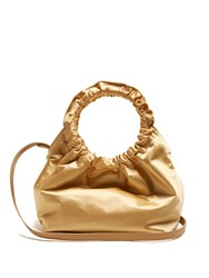 The Row Double Circle Small Satin Bag Gold