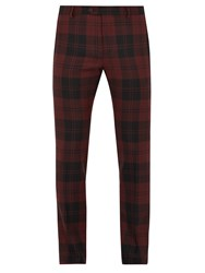 Valentino Checked Slim Leg Wool Trousers Burgundy Multi