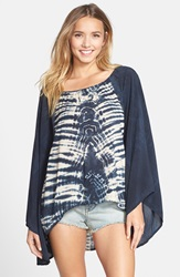 Blue Life Tie Dye Kimono Sleeve Top Black Cream Tie Dye