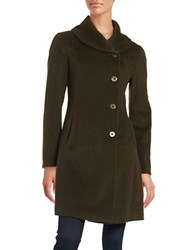 Ellen Tracy Wool Blend Walking Coat Thyme