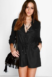 Boohoo Utility Style Long Sleeve Playsuit Black