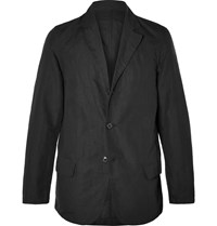 Our Legacy Black Washed Linen And Cotton Blend Blazer Black