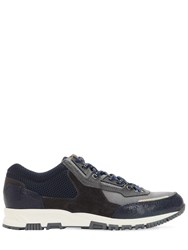 Lanvin Nylon Mesh And Leather Running Sneakers Navy