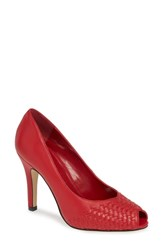 Athena Alexander Strasborg Peep Toe Pump Red Leather