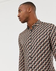 River Island Regular Fit Shirt With Geo Print In Stone