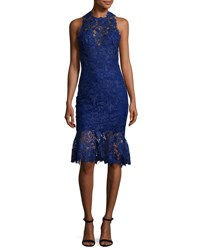 Monique Lhuillier Sleeveless High Neck Lace Flounce Dress Navy