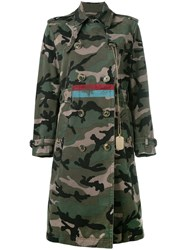 Valentino Camouflage Military Coat Green
