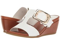 Vaneli Danel White Nappa Tan Super Calf Gold Buckle Women's Wedge Shoes