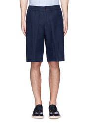 Paul Smith Palm Tree Jacquard Linen Cotton Shorts Blue
