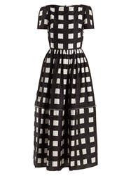 Christopher Kane Zip Hem Square Print Silk Dress Black White