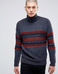 Sisley Roll Neck Jumper With Fairisle Detail Burgundy 902 Red