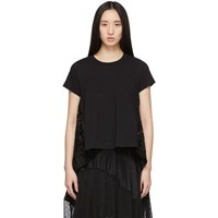 Sacai Black Embroidered Lace Back T Shirt