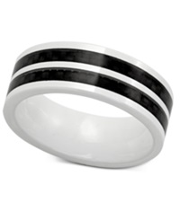 Macy's Men's White Ceramic And Black Carbon Fiber Ring Two Tone Band Ring