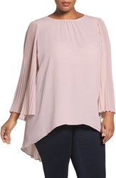 Vince Camuto Plus Size Women's Pleat Sleeve Georgette High Low Blouse Hush Pink