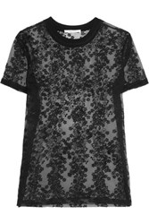Carven Embroidered Organza Top Black