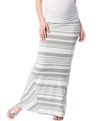 A Pea In The Pod Maternity Striped Maxi Skirt White Grey Stripe