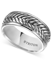 Triton Men's Sterling Silver Ring 9Mm Oxidized Crisscross Wedding Band