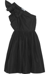 Prada One Shoulder Bow Embellished Silk Faille Dress Black