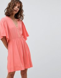 Suncoo Skater Dress With Flutter Sleeve Pink