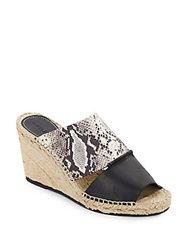 Charles David Owen Snake Embossed Leather Espadrille Wedge Sandals Grey Black