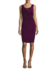 Adrianna Papell Beaded Cowlneck Dress Mulberry