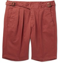 Rubinacci Manny Pleated Stretch Cotton Twill Shorts Red