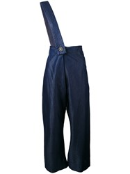 Vivienne Westwood Red Label Cropped Shoulder Strap Trousers Women Cotton Lyocell 40 Blue