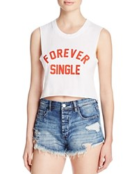 Private Party Forever Single Muscle Crop Tank White Red