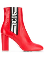 Gcds Logo Ankle Boots Red