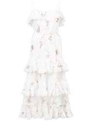 Zimmermann Ruffled Floral Dress White