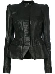 Haider Ackermann Fitted Biker Jacket Leather Cotton Rayon Black